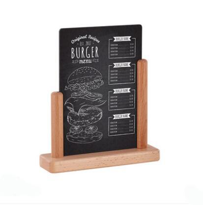 best selling A5 Handwriting Message Blackboard Desk Sign Writing Plate Table Top Advertising Signage Board Wooden Decoration Display Stand