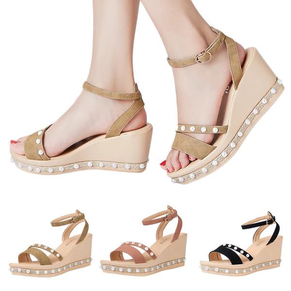 Women' Sandals Wedges Shoes Pearl Weaving Thick Bottom Belt Buckle Roman Sandals sandalias de verano para mujer 2019