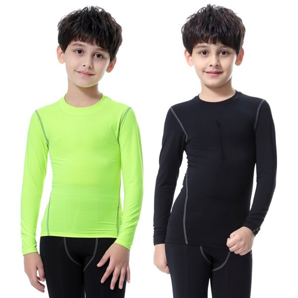 2018 new children kids boy girl compression base layer skins tee thermal sports t- shirt quick-drying clothes thumbnail
