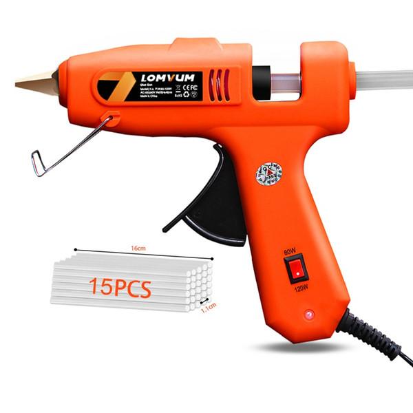 LOMVUM nova cor Professional alta Temp pistola de cola quente 30W Graft Repair Heat Gun pneumático DIY Tools Com gratuito Bastões de cola