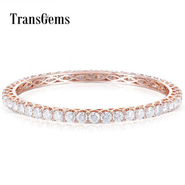 Transgems solido 14k oro rosa 4mm gh colore Moissanite braccialetto per le donne diametro 58mm signore Beacelet regalo di nozze Y190726