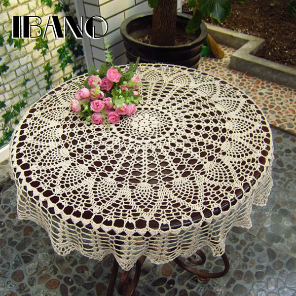 Handmade Crochet Coasters Cotton Lace Cup Mat Placemat 70/ 80/ 90 Cm Rd Shabby Chic Vintage Diy Crocheted Table Cloth T8190620