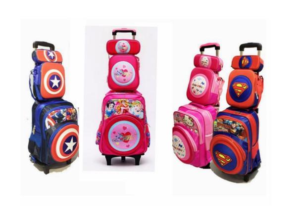 Kinder Trolley auf Rädern Rucksack Set Kinder Rucksack mit Rädern Trolley Bag für die Schule Rolling Bag für Mädchen Jungen Schule
