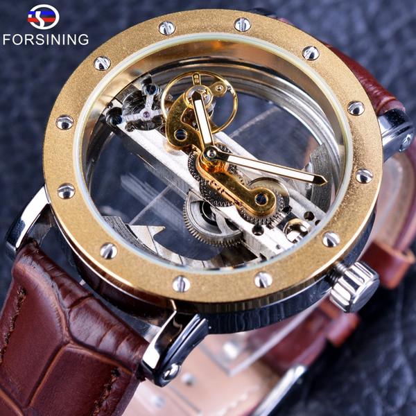Forsining Mens Watch Luxury Transparent Hollow Skeleton Automatic Mechanical Clock Man Watch Male Leather Band Reloj Hombre SLZe14