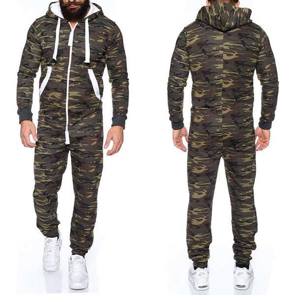 New Mens Camouflage Hooded Zip up Jumpsuits Male Fashion One Piece Jumpsuit Long Sleeve Pockets Jumpsuits Man New