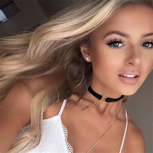 Black Brown Silver Gold Circle Velvet Choker Necklace Gothic Women Fashion Collar Best Friends Pendants Necklaces Jewelry