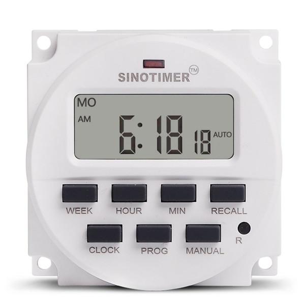 SINOTIMER AC 220V Semanal 7 días Programable Digital Interruptor de tiempo Temporizador de relé Control Din Rail Mount para electrodomésticos 7 Jours