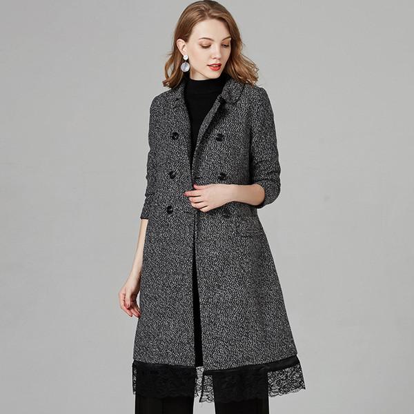 Long Woolen Women Coat Female Double-Breasted Winter Autumn Plaid Jacket 2018 Wool Blend Cape Coat Outwear