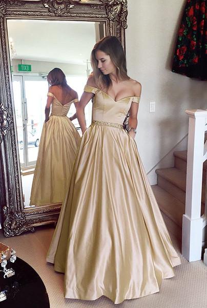 Compre Vestidos De Fiesta Dorados Fuera Del Hombro Con Cuentas De Cristal Faja Satinada Longitud Del Piso Vestidos De Noche Sin Respaldo Rojo Oscuro