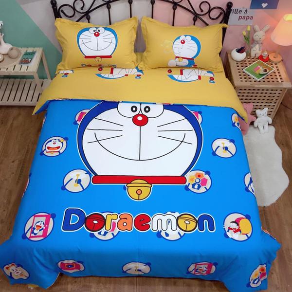 Juego de cama de dibujos animados Doraemon Niños niños 100% algodón funda de edredón doble reina rey linda funda nórdica sábana plana azul niñas ropa de cama