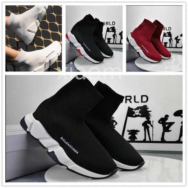 2019 скорость кроссовки balanciaga тренер Повседневная обувь мужчины женщины с коробкой черный белый красный роскошный носок кроссовки спортивная обувь good9d4f#