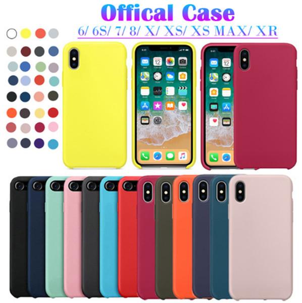 Caja del teléfono Original Oficial banda de silicona LOGO iPhone Case para iPhoneXs Max XR para iPhone6 7 8 Plus Funda para Apple cubierta caja al por menor