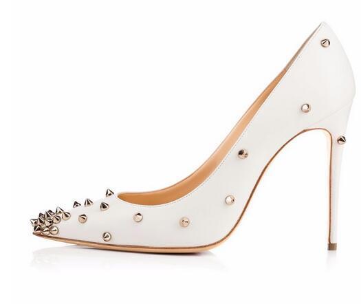 Kırmızı sloe kadınlar yüksek topuk ayakkabı pompalar perçin sivri burun ince topuk bayan düğün ayakkabı için alt kırmızı 8 cm 10 cm 12 cm