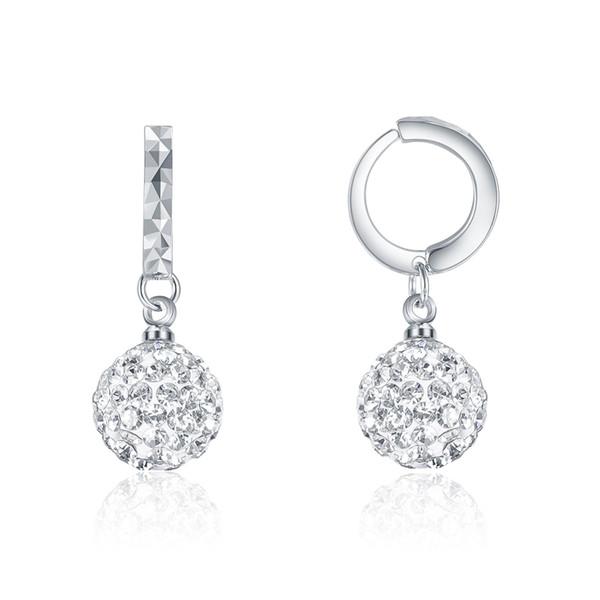 SKA Jewelry 10mm Disco Ball Orecchini di moda per le donne Sparkly Shiny Cubic Zirconia Ball Drop Ciondola gli orecchini di cristallo bianco