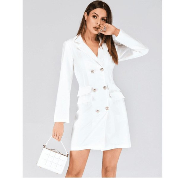 Spring clothes woman black and white Double-breasted Long sleeves Temperament commuting Suit jacket Dress Women's wear