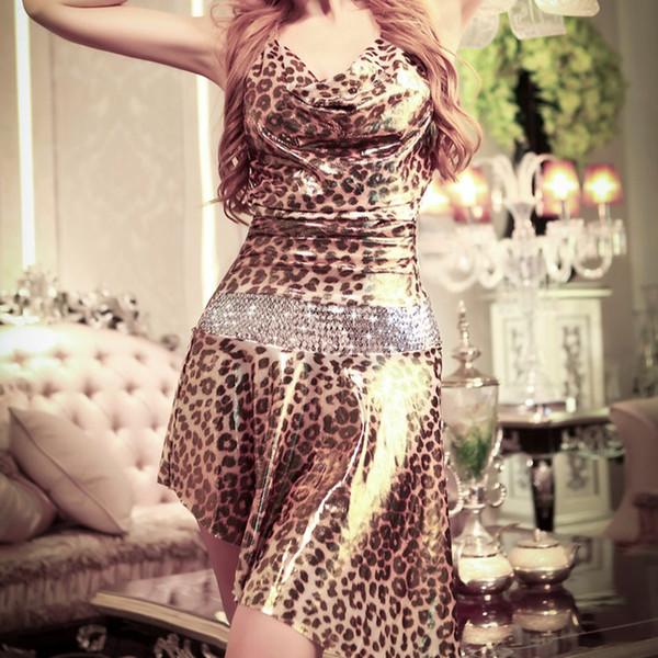 JSY Poplin lentejuelas vestido de baile Shinning estampado de leopardo traje Animal patrón elegante vestido de liga T-back 9967