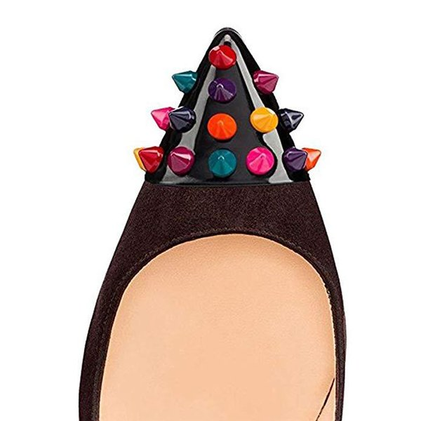 2019 New Fashion super high heels green black purple brown Shallow mouth pointed rivets pumps Customized women wedding lady party shoes