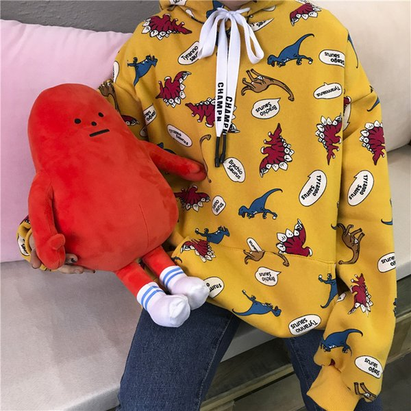 2019 new winter korean style preppy dinosaur cartoon print cute large playground leisure cartoon loose sweaters wgwy02 - from $12.72