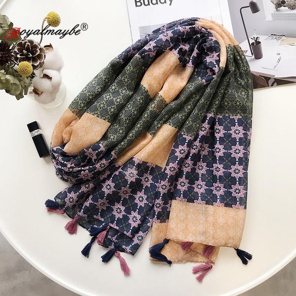 Женщины шарфы Хлопок Новый белье Национальный Ветер шарф Летние путешествия Отдых Фото Большой платок Солнцезащитный шелковый шарф
