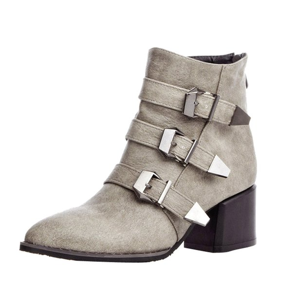 Rivets Faux Leather Booties Buckle Straps Thick Heel Black Ankle Women Boots Studded Decorated Woman Boots Motorcycle 2019 O10