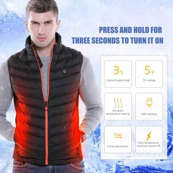 Büyük Boy Sonbahar Kış erkek Standı Yaka Isıtma Pamuk Yelek Graphene Elektrikli Yelek Ayarlanabilir USB Şarj Isıtmalı Giyim