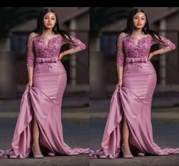 Пыльная роза мода Саудовская арабский Русалка вечер мать невесты платье атласная аппликация 3/4 рукава партии Пром платье плюс размер
