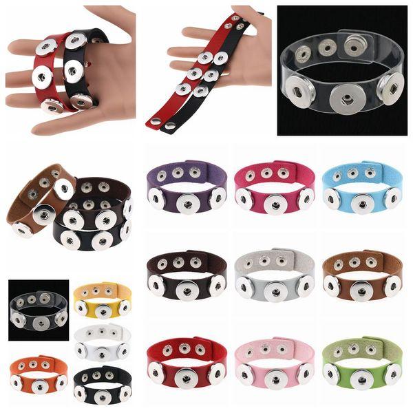 14styles Button Bracelet Bangles PU leather Bracelets For Women Snap Button Jewelry kids toy gift party favor DIY fashion decor FFA1397