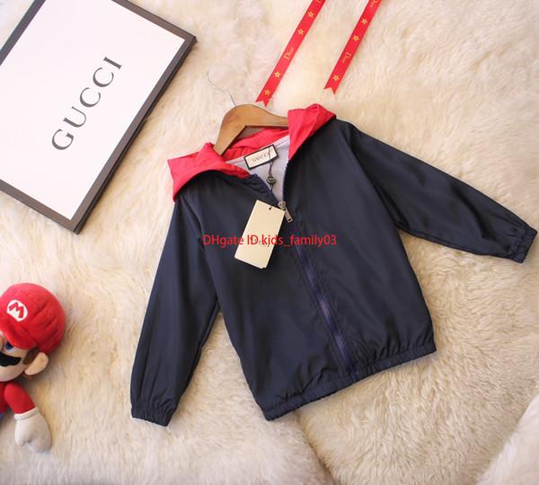 2019Boy jaqueta crianças roupas de grife outono novo grosso casaco de tecido com zíper com capuz tamanho do material de fibra jaqueta 110-150