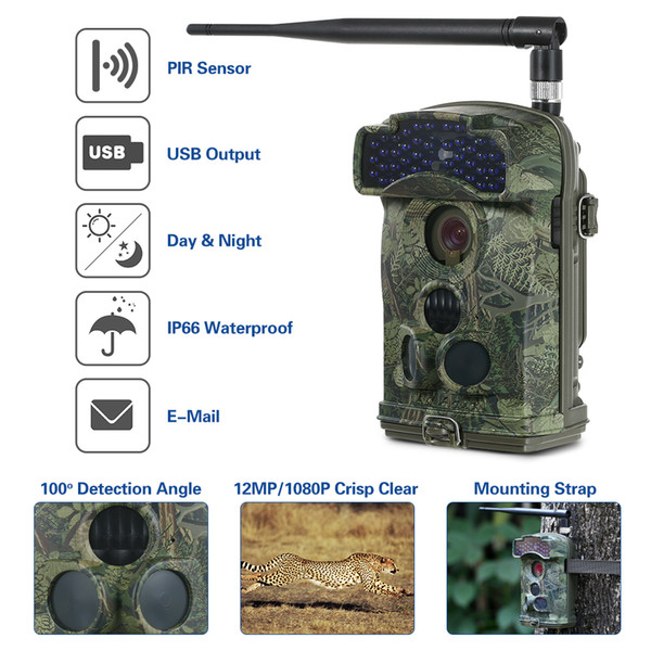Wireless 3G Hunting Trail Camera 12MP 3 PIR Sensors Infrared Video Night Vision MMS/SMTP/FTP Wide Angle Wildlife Scouting Camera