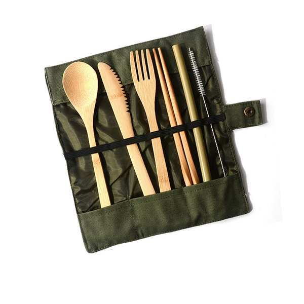 Bamboo knife, fork and spoon Japanese set portable folding tableware package tableware gift box tableware set for home T3I5087