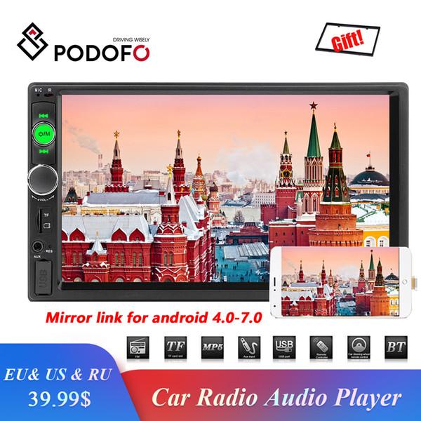Podofo 2DIN Car Radio Multimedia Car Stereo FM USB AUX Bluetooth Autoradio 7010B MP5 player Espelho Fazer a ligação Suporte Câmara de visão traseira