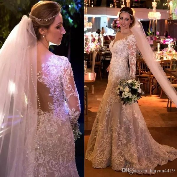 Fit to Flare Wedding Dresses Sweetheart Lace Applique Beads Sequin Illusion Sheer Open Back With Button Long Sleeve Court Sweep Bridal Gowns