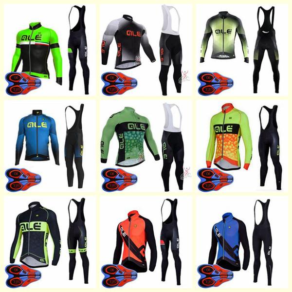 ALE takım Bisiklet uzun Kollu jersey önlüğü pantolon setleri sonbahar bahar Nefes Ropa Ciclismo erkek giymek bisiklet Maillot U83108