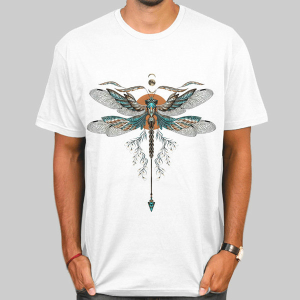 Футболка Dragonfly Красивые топы с коротким рукавом в виде крыла Хорошие унисекс футболки со стойкостью Colorfast одежда с принтом Чистый цвет модальная футболка