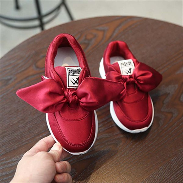 Fashion Girls Shoes bows Sweet Childrens Cheap Sneakers Sports Shoes kids Athletic Shoes Children Footwear running shoe A2171