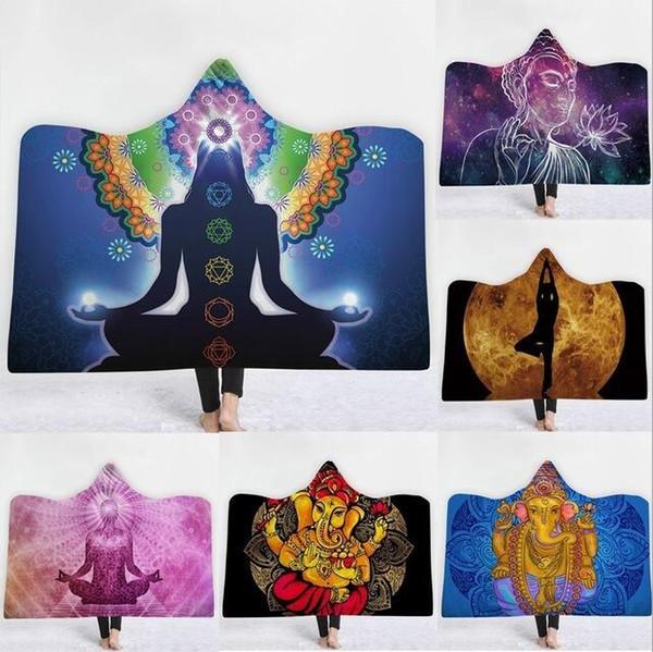 Mandala Sun manta con capucha engrosamiento terciopelo felpa felpa Sherpa manta de tiro manta familiar para niños 12 colores MMA1683