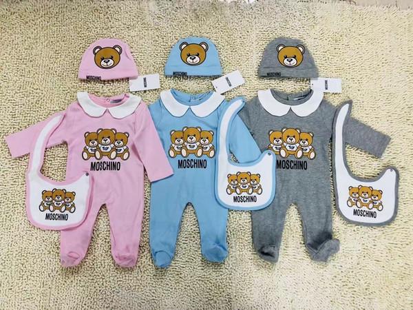 Moda Bebek Giysileri set Sevimli Yenidoğan Bebek Bebek Erkek Mektup Romper bebek kız önlükler Kap Kıyafetler Set