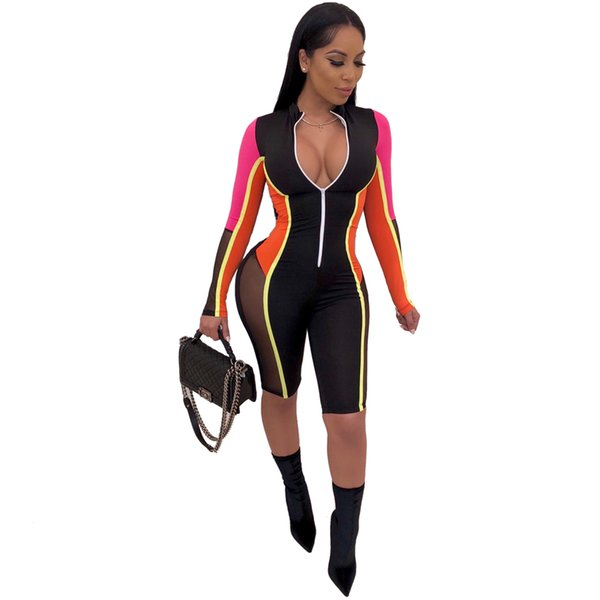 Sexy Zipper Long Sleeve Stitching Color Shorts Bodysuit Playsuit Casual Orange Blue White Women Jumpsuit Sexy Shorts Rompers
