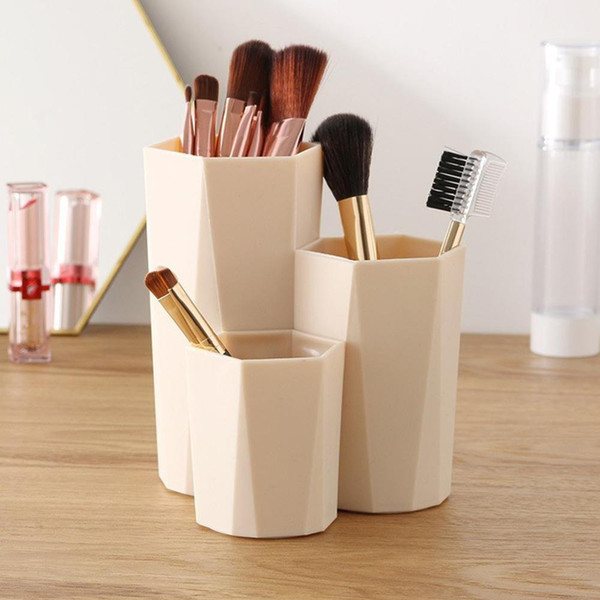 Cosmetics Box Pen Holder 3 Lattices Makeup Brush Storage Case Makeup Organizers Box Multifunctional Brush Pen Bucket