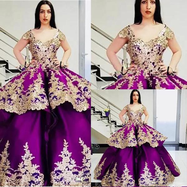 Altın Aplike Mor Gelinlik Modelleri Kare Boyun Cap Kollu Saten Balo Abiye Giyim Kadınlar Abric Dubai Elbise