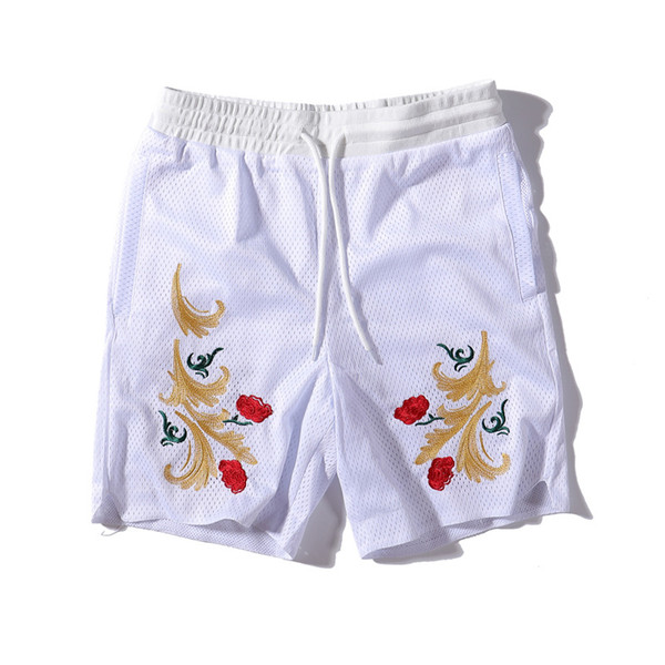 KiTHshort designer mens shorts brand rose embroidery mesh knickers luxury cotton casual pants highquality new mens basketball shorttrousers