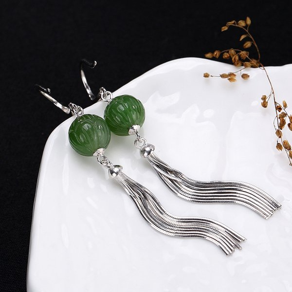 Boucles d'oreilles bijoux de mode S925 Pure Incrusté Naturel Restaurant des Manières Antiques Mme Hetian Jade Lotus Glands oreille Goutte Boucles D'oreilles En Gros