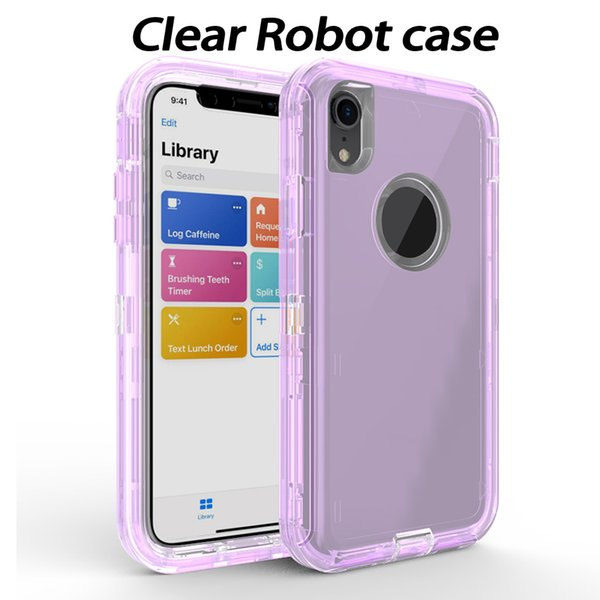 3 In 1 Clear Robot Transparent Defender Case For iPhone 8 7 6 Plus Soft TPU Bumper Back Cover For iPhone X XR XS Max Samsung S9 Plus Note 9