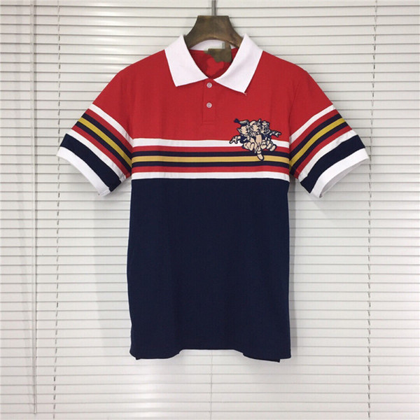 GC Patchwork À Rayures Imprimé Hommes Polos D'été Revers À Manches Courtes T-shirts De Mode Trois Cochons Designer Hommes Haut