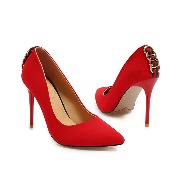 Toptan Yeni Seksi Stiletto Topuk Süet Geri Yüzük Sivri Burun Kadın Kadınlar için 105mm Moda Yüksek Topuklu Ayakkabı Pompalar Ofis Elbise ayakkabı
