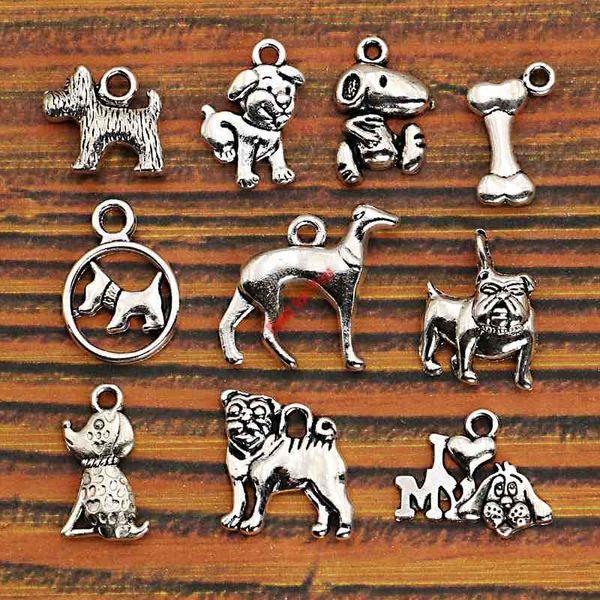 10pcs tibétain mixte argent plaqué animaux chiens charmes pendentifs fabrication de bijoux bricolage charme artisanat fait à la main