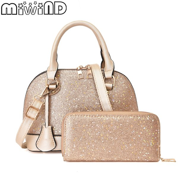 Ladies Handbag Shoulder Messenger Bag High Quality PU Leather Fashion Trend Shell Bag Large Capacity 2-piece Set MIWIND 2019 New