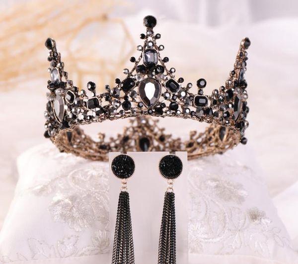 Corona de novia, corona negra barroca de reina retra negra, adornos para el cabello de novia de Europa y América