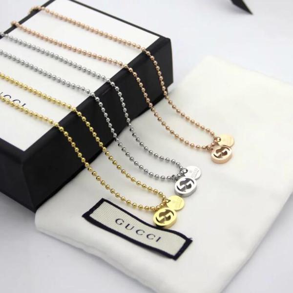 hot sale designer hollow G letter round bead chain necklace fashion wild tide female titanium steel necklace