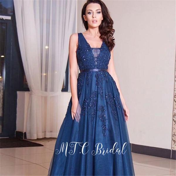 Изящное темно-синее арабское вечернее платье с открытой спиной 2019 Великолепные аппликации из бисера и тюля Длинное вечернее платье Vestido De Festa